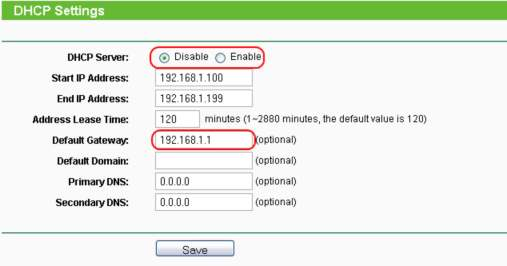 Disable DHCP si setare Gateway